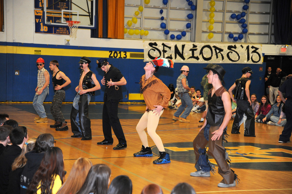 The sophomores did their best Village People impersonation to revive the '70s.