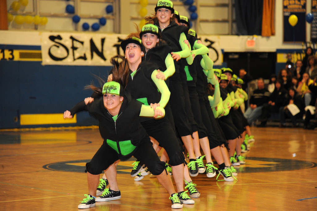 East Meadow High School seniors performed some impressive dance aerobics.
