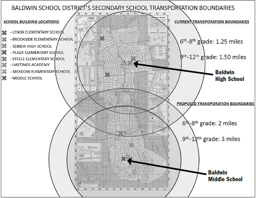 This map, available in greater detail at baldwinschools.org, shows the projected changes to busing in Baldwin.