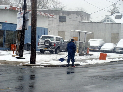 Business owners and residents shoveled their properties.