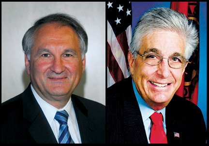 County Comptroller George Maragos, left, and his predecessor, Howard Weitzman, have different views about the county's financial state.