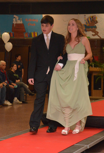 Michael Schmutter and Rachel Blackley walk the red carpet.