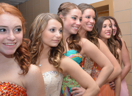 Getting ready for the runway at OHS dawn delirium are, from left, Sara Hindin, Tonimarie Mangione, Jackie Scharfberg, Emily Doherty, April Reilly, Kristen Pedote.