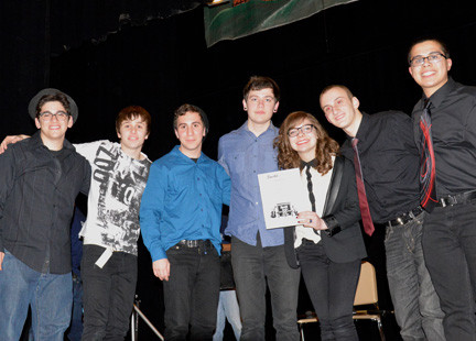 Jesse Klirsfeld, Steve Ristano, Alex Frondelli,  Andrew Leathem, Liz Webb, Stephen Daskalakis, and Adam Allen,  Lucidity, the band that won first place and a Sam Ash gift card