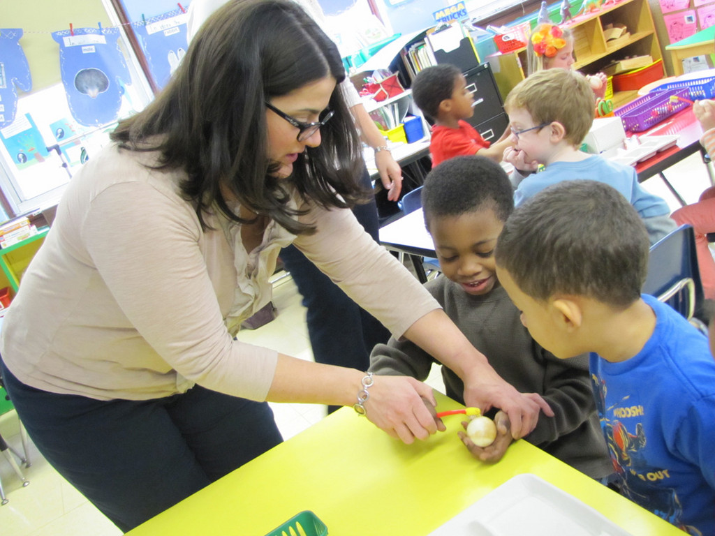 Downing students got very involved in the hands-on lesson.