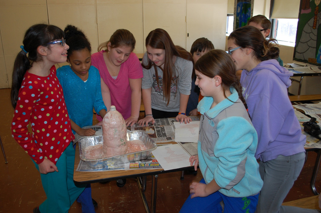 In Kitchen Science, students got to see how a soda-bottle volcano was made.