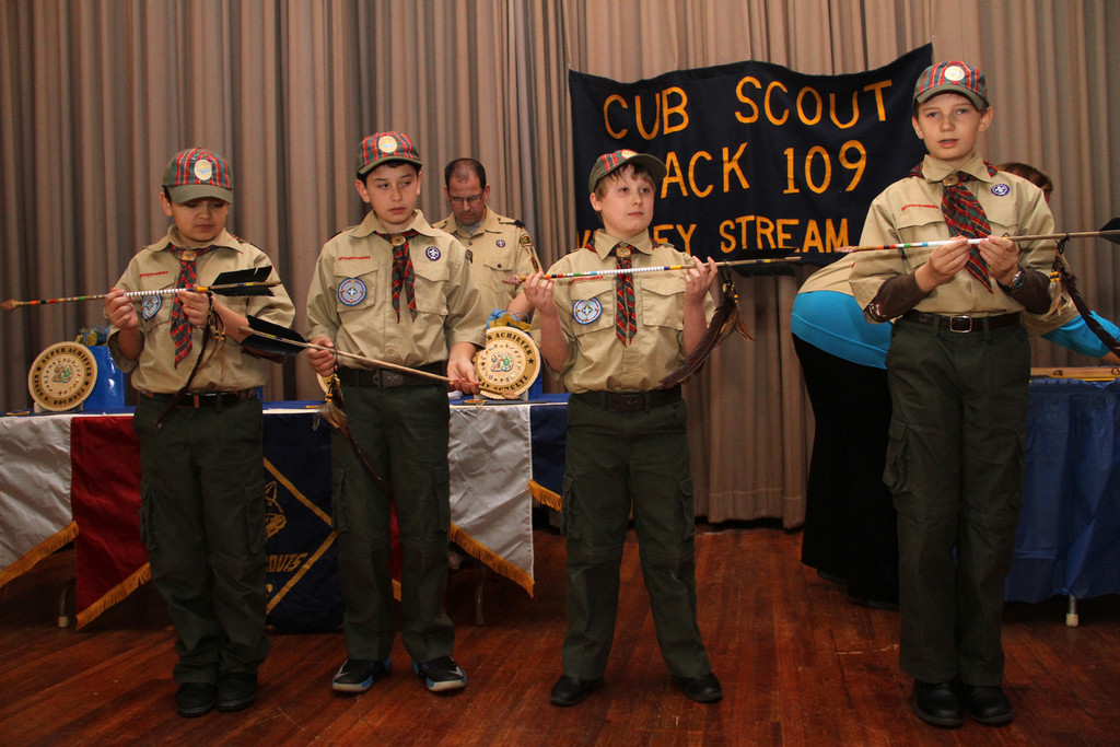 Pack 109 Cub Scouts, from left, Kegan Bouhouj Webelos Robert Deckel, James Hardie and Maximus Schultz, received their Arrow of Light awards to advance to the Boy Scouts on March 10.