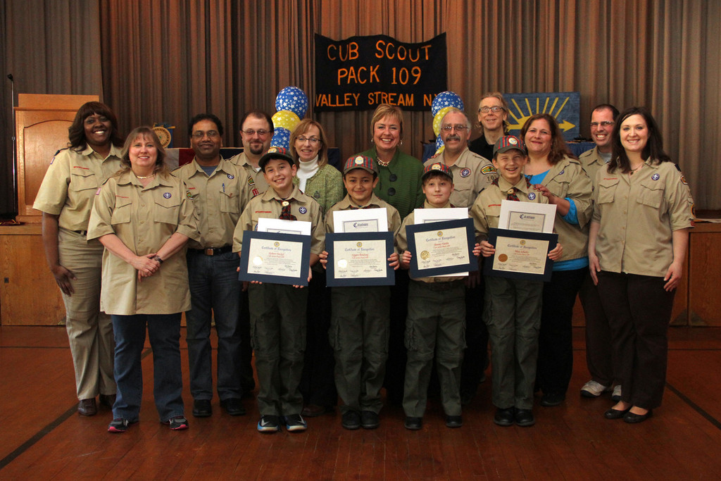 Valley Stream Trustee Virginia Clavin-Higgins and Town Supervisor Kate Murray with adult leaders and Webelos Robert Deckel, Kegan Bouhouj, James Hardie and Maximus Schultz.