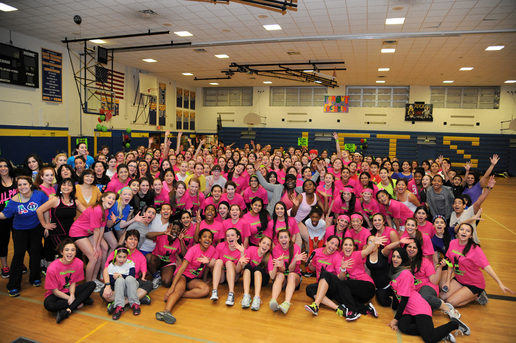 More than 100 students gathered in the East Meadow High School gym for a night of exercise and fun, all for a good cause.