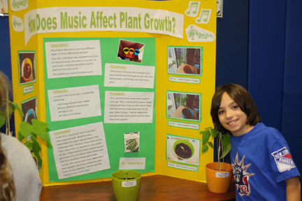Through his experiment, West End fifth-grader Jimmy Palco of Lynbrook learned that classical music has a more positive effect on plant growth than rock music.