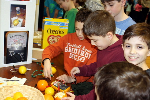 At Lynbrook�s West End School science fair, fourth-graders Matt Kotkin (center) and Ethan Romano (right) demonstrated how they used fruit to create voltaic batteries.
