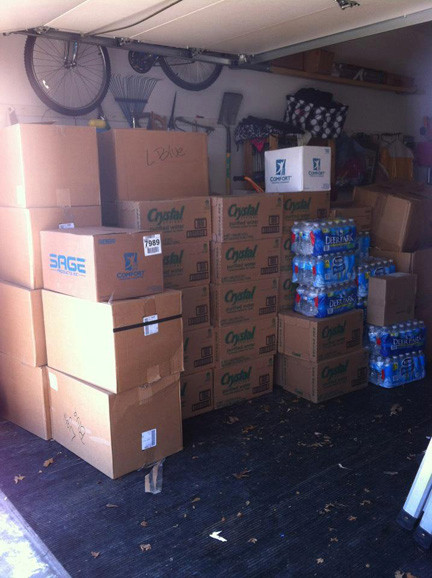 A garage full of donations.