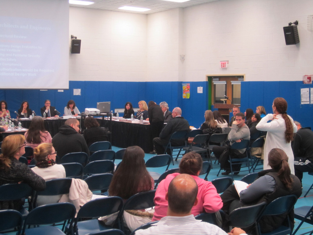 Wendy Macaluso, a Merrick parent, asked the district�s Board of Education several questions about school security during the public comment section of the board�s March 5 meeting.