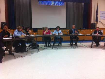 The North Bellmore Board of Education and district administrators discussed their draft of the 2013-14 budget at Saw Mill Road Elementary School last week.