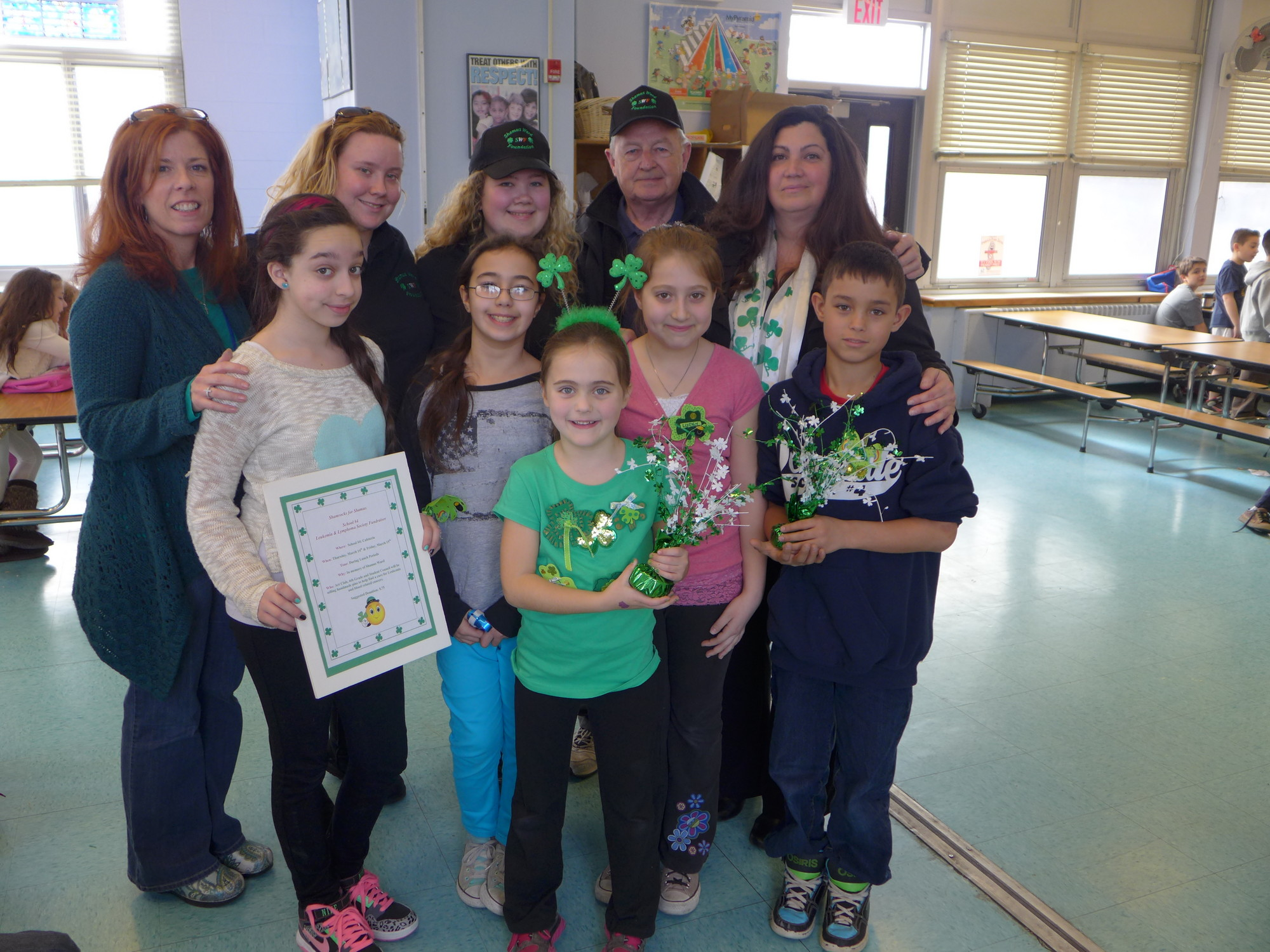 Shamus' family visited School #4 today to thank the students for remembering Shamus and supporting the Leukemia and Lymphoma Society. Jean Marie Toy, School #4 art teacher, Amy Greenberg, Ward family friend, Nicole Ward, Shamus' sister, James O'Sullivan, Shamus' grandfather, Rose, Ward, Shamus' mom, Darlene Salcedo, Elia Ridi, May Brintouch and Jeffrey Mizrachi, 6th grade art students and (front, center) Megan Geraghty-Checola, 2nd grader