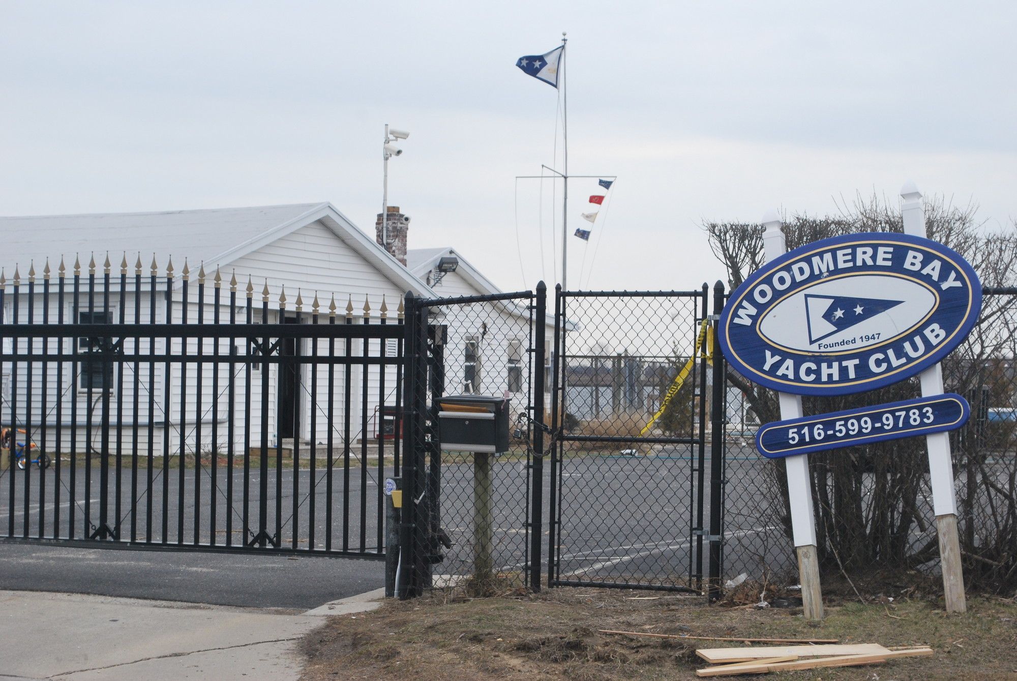 Hurricane Sandy ripped through the Woodmere Bay Yacht Club in East Rockaway. Members hope to have the Cooke Street building repaired by May.
