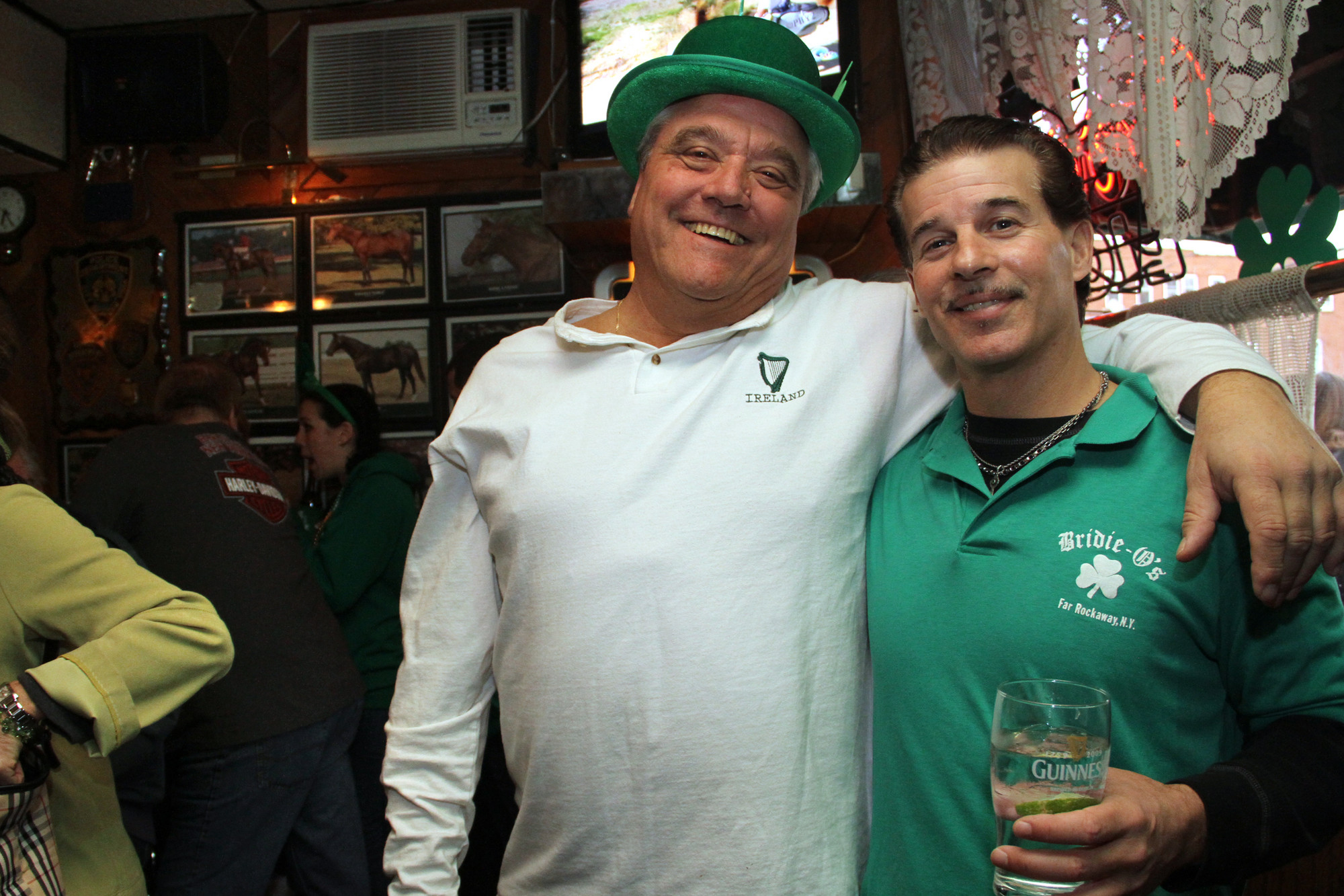 St. Patrick's Day was celebrated at Bridie O's bar on Central Avenue in Lawrence. Tony Zummo, left, and Stephen Valenti showed off their Irish halves.