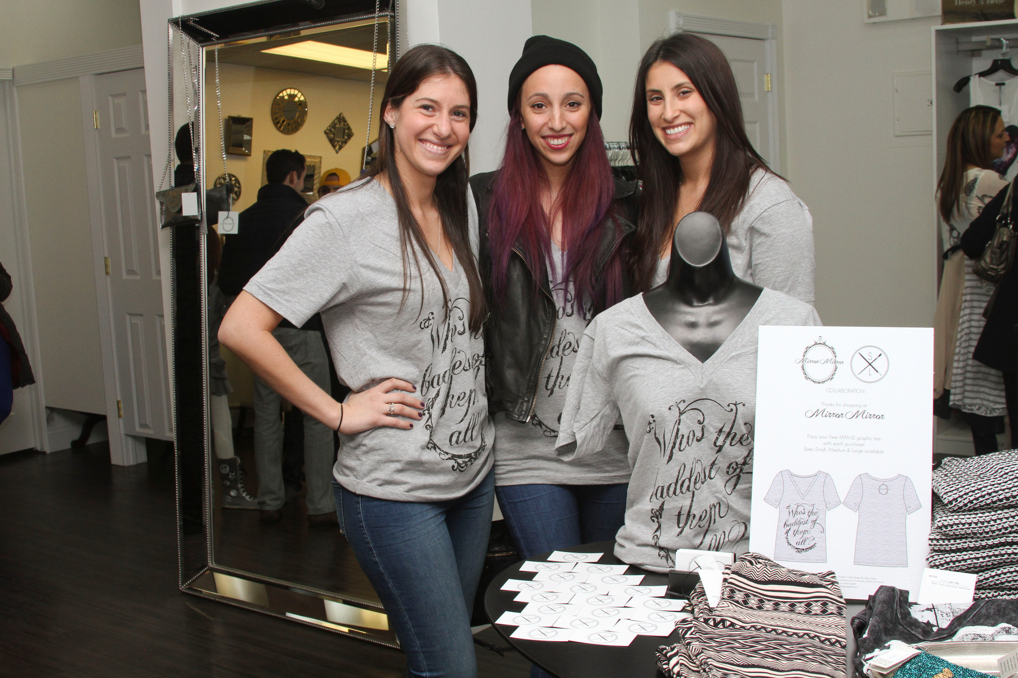 Mirror Mirror is co-owned by Lena Schajer, left,and Shelley Fico, right. In the center is their graphic designer, Stacy Longo.