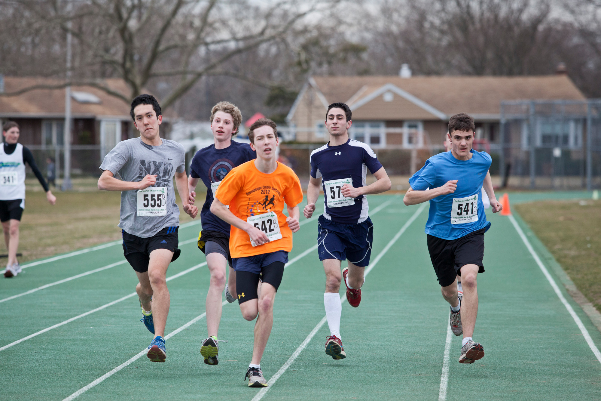 Valley Stream North High School hosted its fourth annual Spartan 5K race last Saturday morning to raise money for the National Multiple Sclerosis Foundation. Among the runners were, from left, Kelson Haberlack, 18, Joe Tesariero, 14, Jimmy Field, 16, Tom Bardabelias, 19, and Christopher Bonetti, 17.