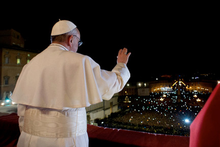 Pope Francis greeted the crowd in St. Peter�s Square in Vatican City shortly after he was elected.