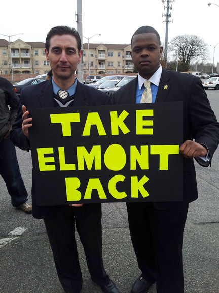Muzzio Tallini, left, vice president of the Elmont East End Civic Association, and Carl Achille made their feelings clear at the March 16 community assembly.