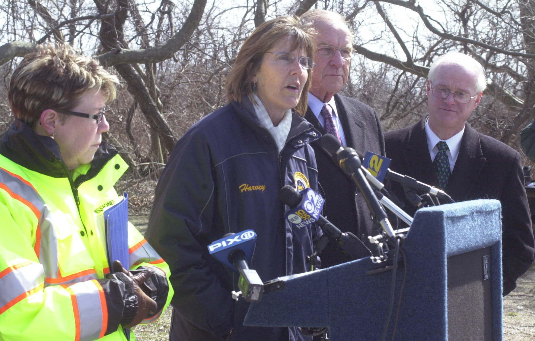 State Parks Commissioner Rose Harvey, at lectern, reviewed progress that workers have made in repairing damage to Jones Beach Island from Hurricane Sandy. She was joined by, from left, State Transportation Commissioner Joan McDonald, Assemblyman David McDonough of North Merrick and Chip Gorman, acting Long Island regional director for the state Department of Parks, Recreation and Historic Preservation.