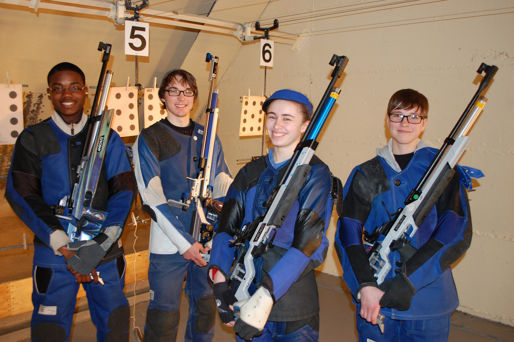 Members of the Valley Stream Central High School District varsity rifle team, from left, Jurell Wilson, Sean Wraith, Danielle Cuomo and Kristen Mantel brought home a state title in air rifle.