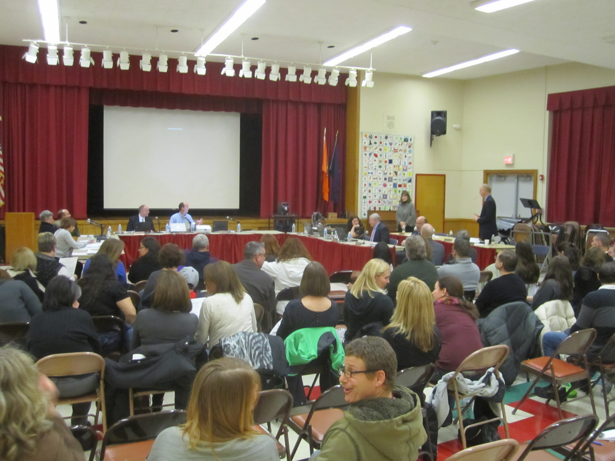 North Merrick Board of Education trustees, district administrators and parents discussed the merits of more than a dozen proposals to increase school security at a special meeting at Fayette Elementary School on March 12.