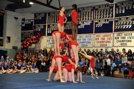 The Red Team towered in the tumbling.