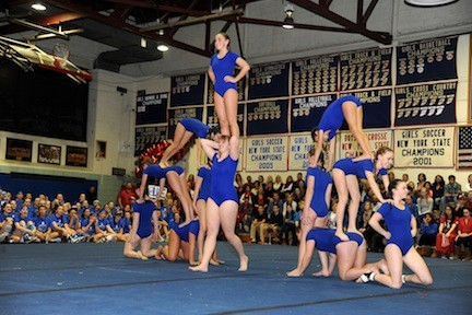 Blue Team's acrobats rose to the occasion in the tumbling event.