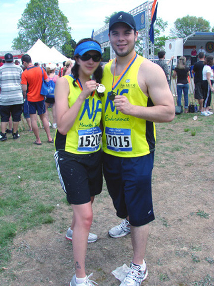 John Diaz and his sister, Krissy, who suffers from NF2, a genetic disorder. John ran in the New York City half-marathon last weekend to raise awareness about his sister's disease.