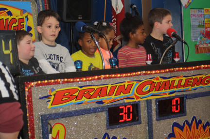 Students at Maurice W. Downing Primary School in Malverne faced off in a round of the �Brain Challenge� game.