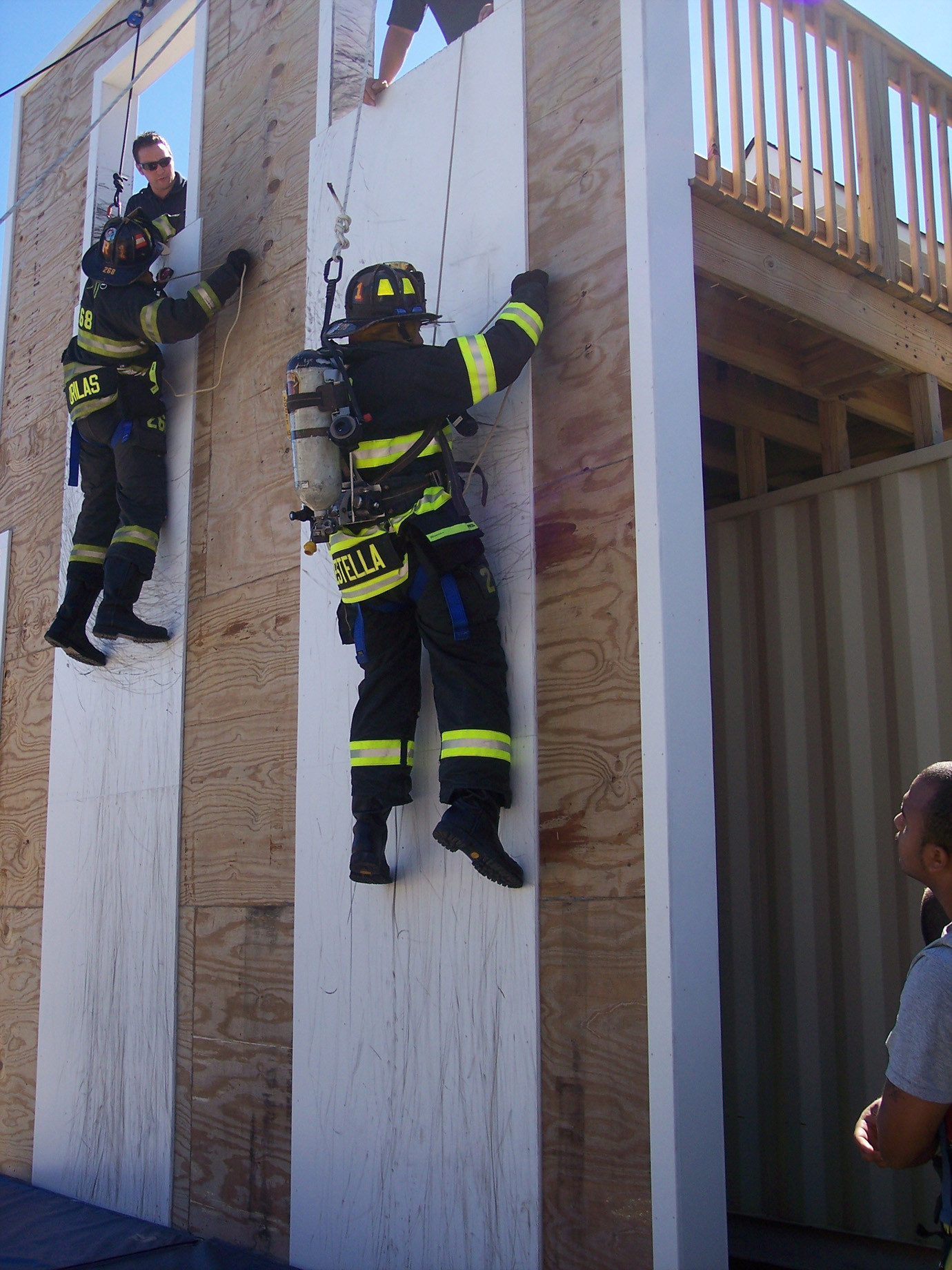Elmont firefighters train with personal escape systems at the training tower on School Road.
