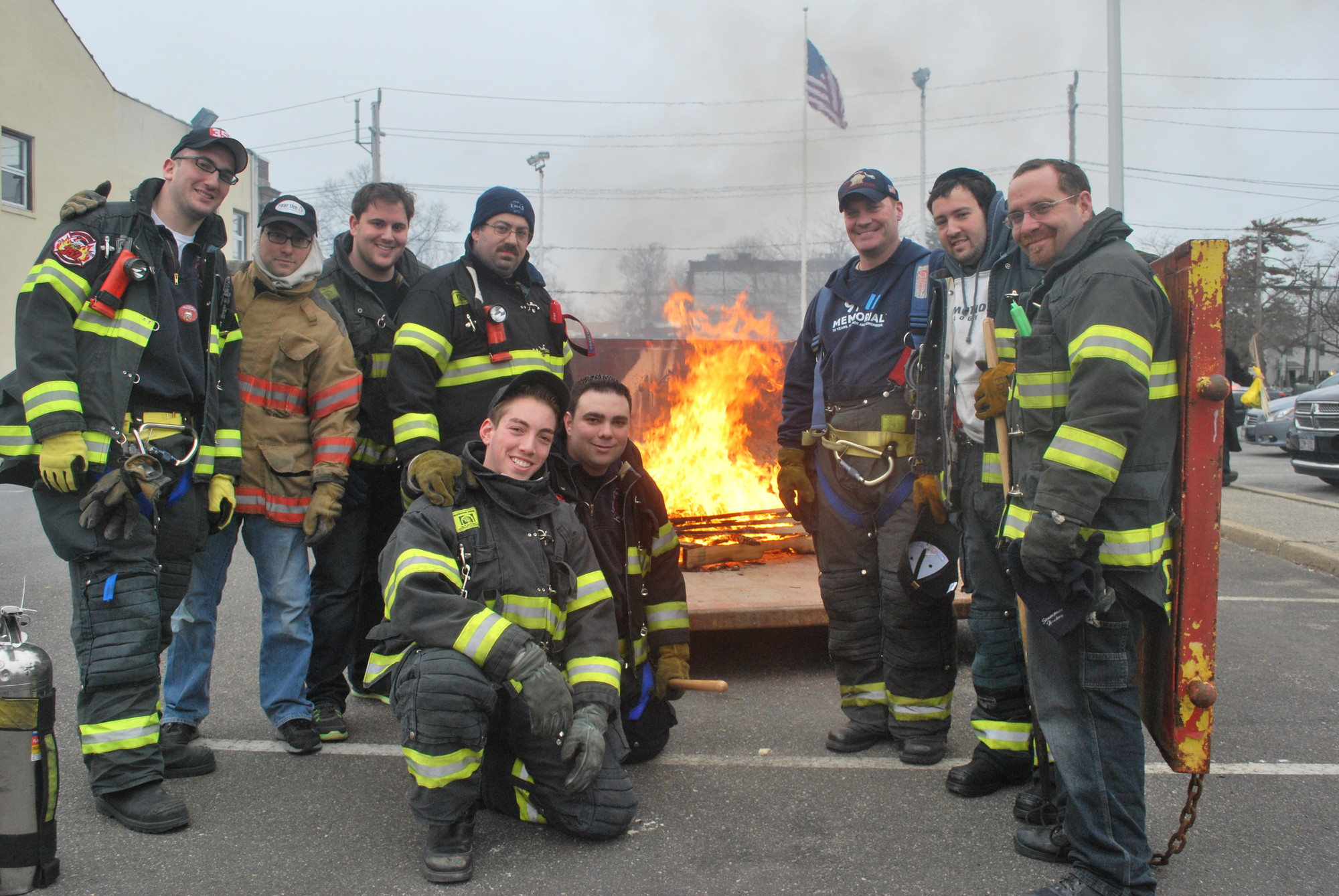 Woodmere firefighters ensured that the Five Towns residents who came to burn their chometz would be doing it safely.