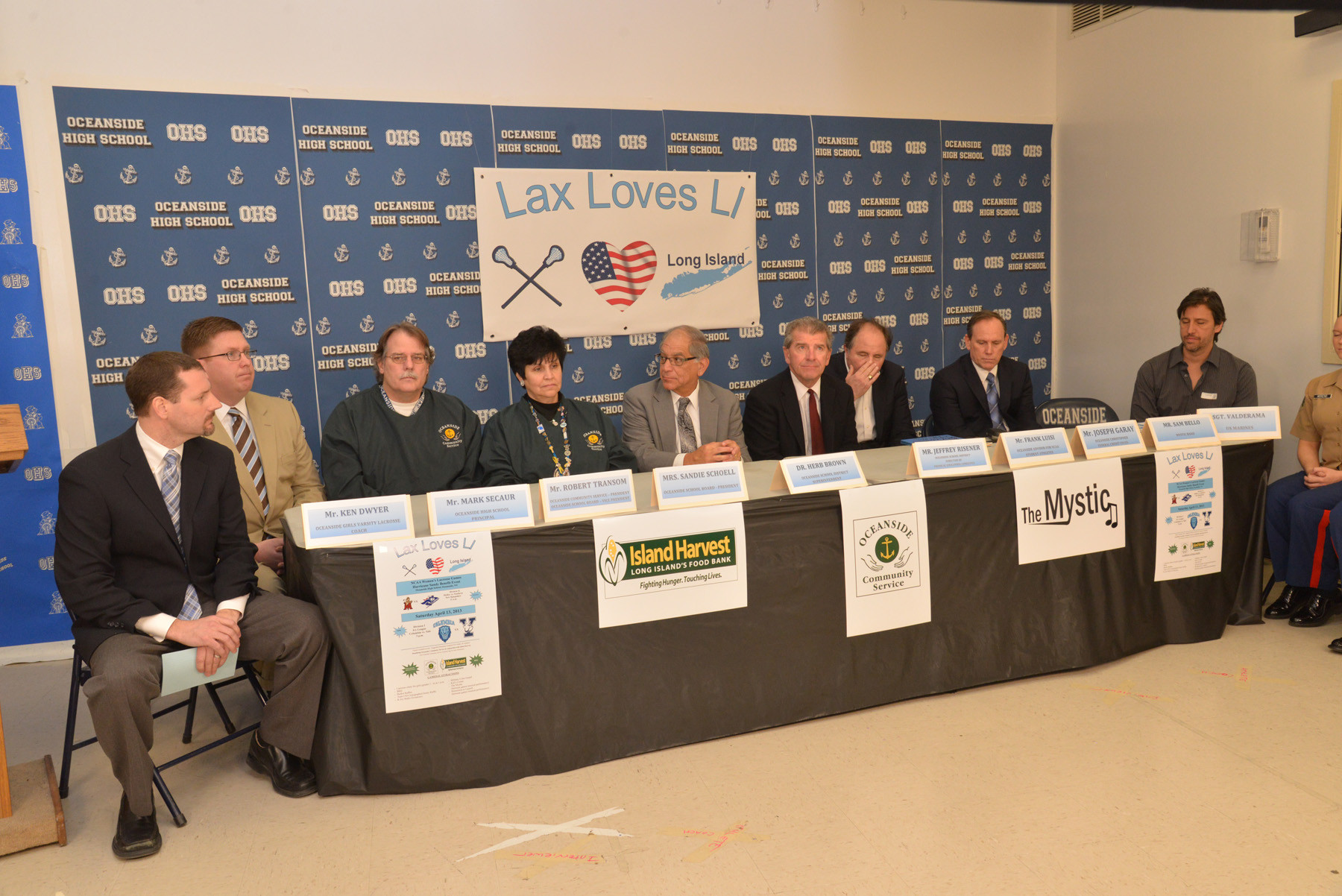 Officials from the sponsors and the various schools that will compete in the fundraiser took part in a press conference at Oceanside High School on March 22.