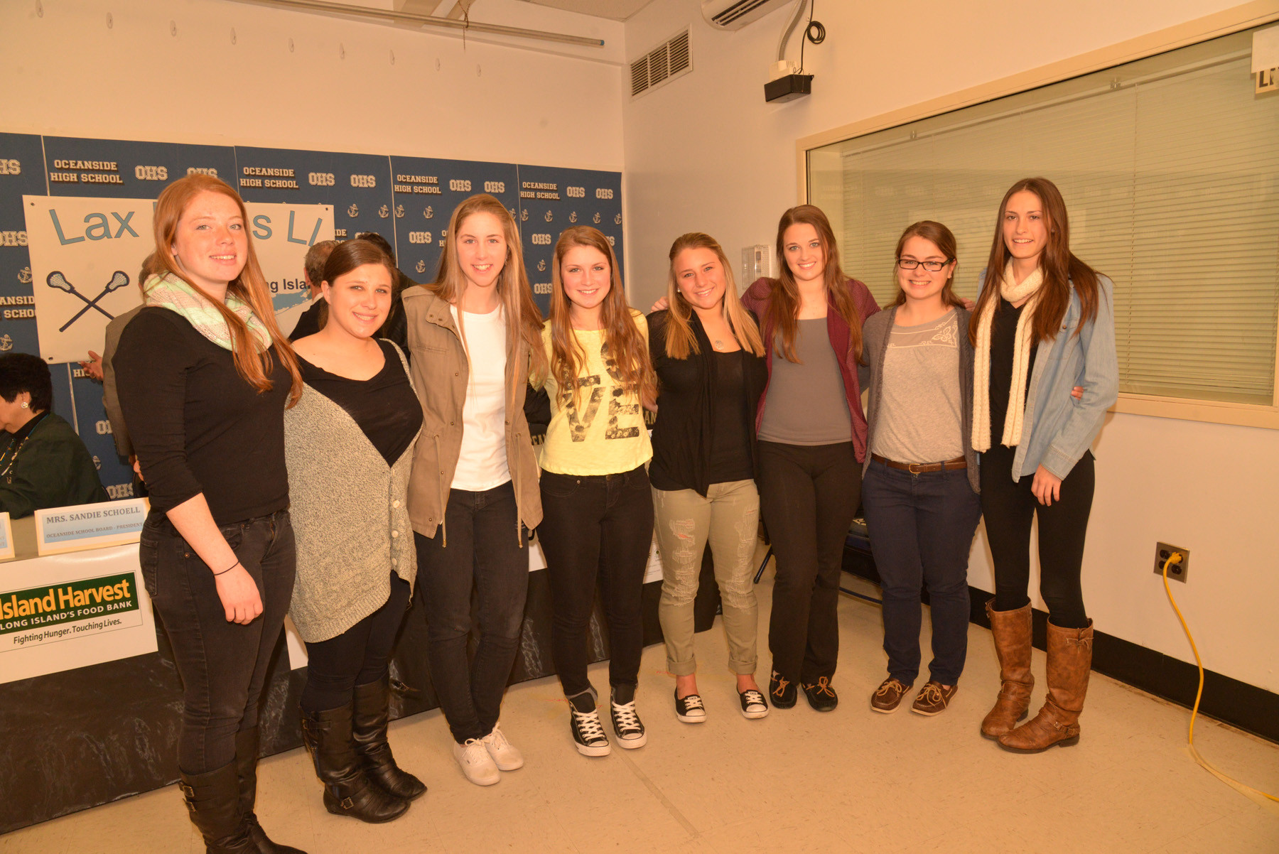 A few of the members of the Oceanside High School girls� lacrosse team were at the press conference.