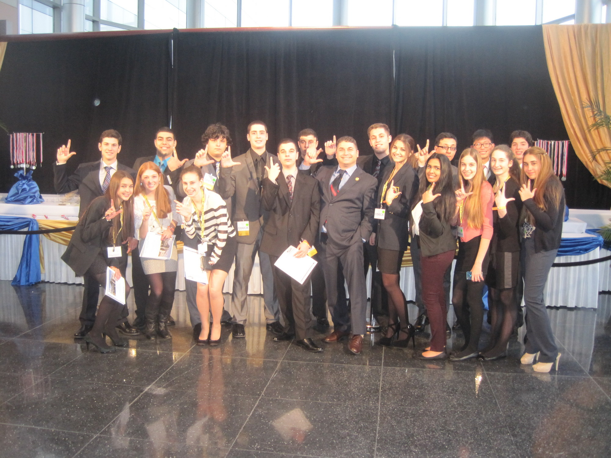Lawrence High School DECA members continue to succeed. From left in back, Jonathan Scott, Akil Mavruk, Jacob Penzer, Isaac Amos, Jesse Friedlander, Jake Bernstein, Thomas Lira, Ryan Bae and Jonathan Rutchik. From left in front row, Victoria DiCeglio, Jessica Beyer, Maxine Kastriner, Noah Friedlander, Mark Albin, DECA Advisor, Lauren Abecassis, Sophia Mohamed, Rebecca DiLuzio, Samantha Rubenstein and Danielle Diamond.