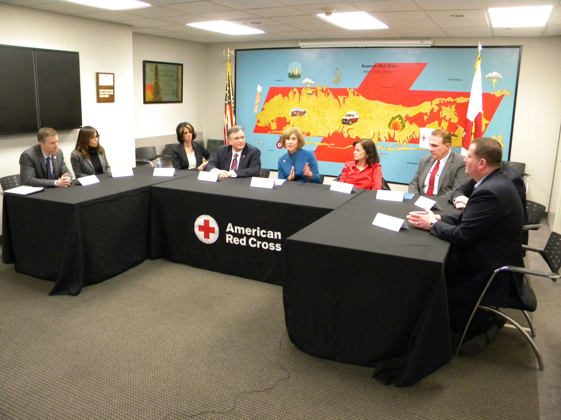 Red Cross officials and locals discuss the impact of Hurricane Sandy on Long Island.