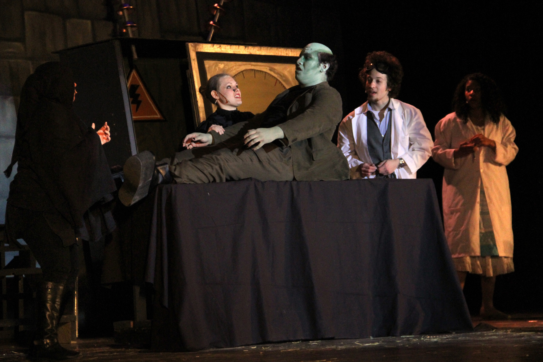 "Igor, Frau Blucher, the monster (Big Mike), Dr. Frankenstein and Inga in a scene from ""Young Frankenstein."""