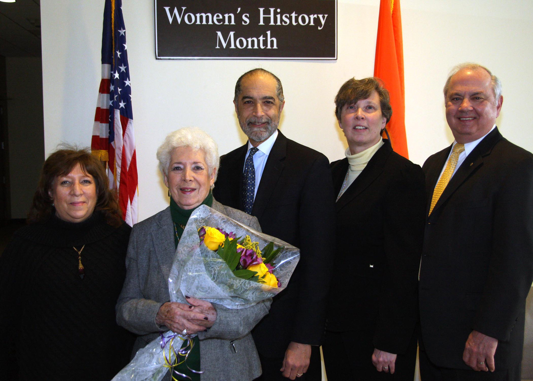 Frances Ford (daughter), left, honoree Leone Baum, Legislator Robert Troiano and Laura and Robert Schultz.
