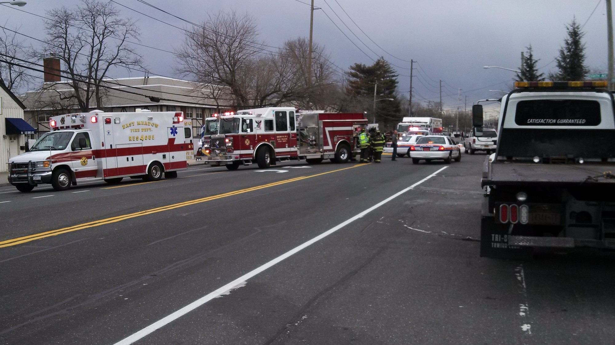 Police, volunteer firefighters and  ambulances responded to the accident on Newbridge Road