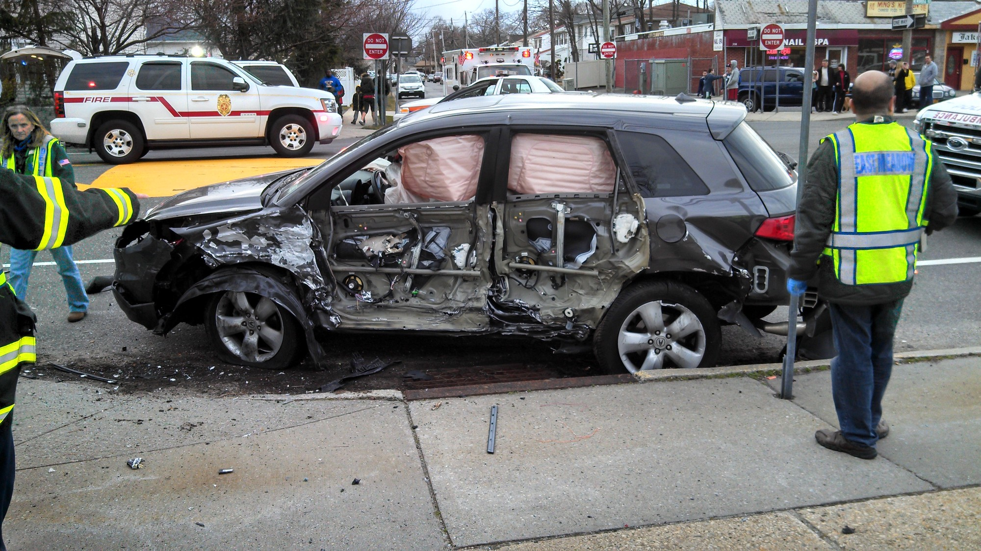 One of the vehicles involved in the accident, which occurred at about 5:30 p.m. on Tuesday.
