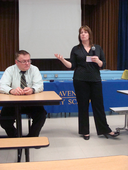School board president Kristin Ochtera asked for the public's input in the district's search for a new superintendent. Trustee Neil Schloth is at left.