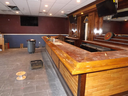 Work at the Howard Lathrop Post 2307 VFW in Lynbrook is almost complete after a fire in December 2011. The bar in the members' lounge was installed in January.