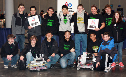 Members of the Lynbrook robotics teams scored well in their second season competing in the FIRST Robotics Competition held at the Jacob Javits Convention Center on March 8.