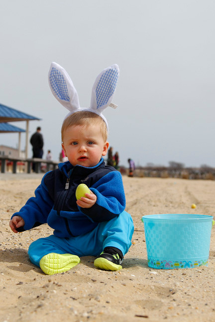 It was 10-month old Tommy O'Hagan's first Easter egg hunt, and his introduction to sand last Saturday when he and his family took part in the annual Hewlett Point Easter Egg Hunt in Bay Park
