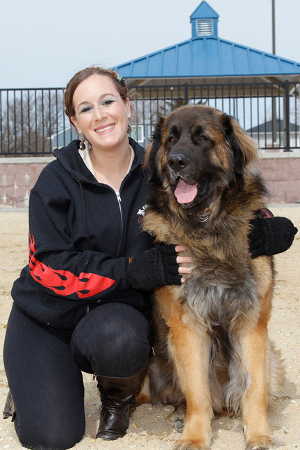 Long-time East Rockaway resident and member of 11518.org, Corrine Saar, with Mr. America, a Leonberger.
