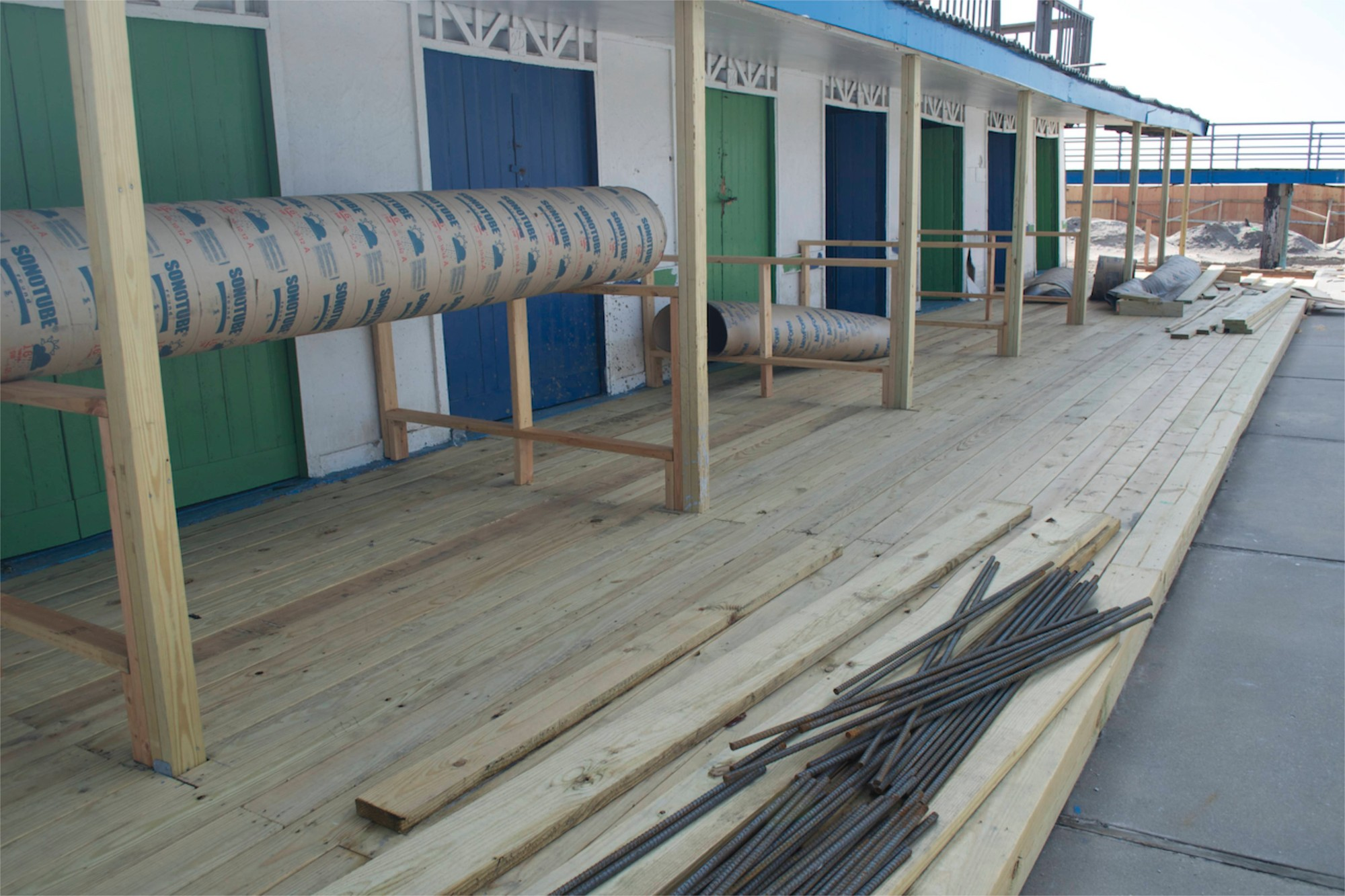 Since January, The Shores has been in rebuilding mode, renovating its damaged cabanas in order to open as scheduled on Memorial Day weekend.