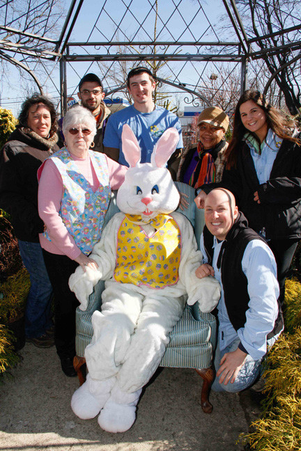 The staff of Cipriano Nursey and Florist with the Easter Bunny. From left, Vonnie Soave, Phylis Caggiano, Brendan Hecht, Nolan Travis, Heidi Jordan, Samantha McMann and John Nunnenkamp.