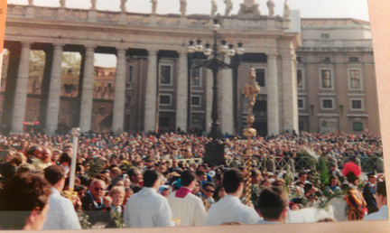 A photo of St. Peter's Square in Rome taken 15 years ago by East Meadow resident Elena Sanchez during Palm Sunday.